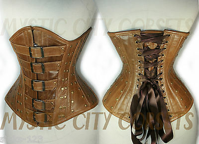 NEW BROWN LEATHER UNDERBUST CORSET STEEL STEAMPUNK MYSTIC CITY CORSETS XSSMLXL