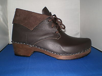 Hand made in Scarborough Swedish Style wooden sole Leather Clog Boot  UNISEX