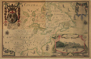 """1688 Map, Quebec CANADA, Nice detail, antique, French, Quality, 20""""x14"""""""