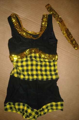 NWT COUNTRY WESTERN DANCE SHORTY UNITARD Yellow Black Gingham Gold Sequin
