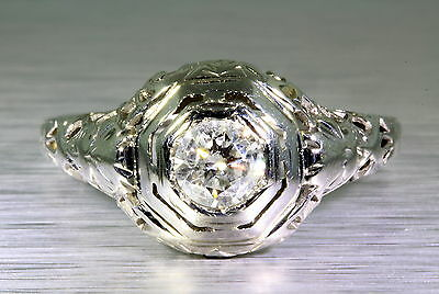 Antique 1920s .35ct Old Euro Diamond 18k White Gold Filigree Ring