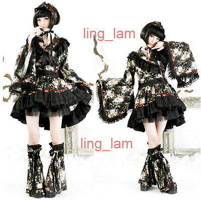 FreeShip Punk Gothic Lolita kimono BLOSE + SKIRT +Warmer Q114 BLACK FLORAL