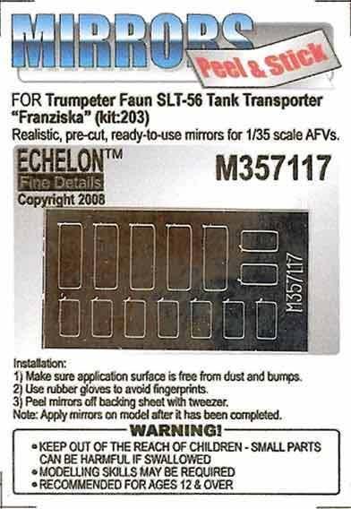 Echelon M357117 1/35 German Faun SLT-56 Tank Transporter Mirrors (Trumpeter)
