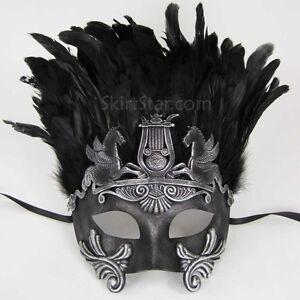 ROMAN-WARRIOR-GREEK-VENETIAN-half-face-MASK-masquerade-BLACK-mens-silver-costume
