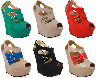NEW WOMENS LADIES STRAP PLATFORM PEEPTOE PARTY HIGH WEDGE HEEL SHOES SIZE 3-8 UK