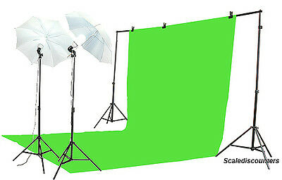 10x20 CHROMAKEY GREEN BACKDROP SCREEN 800w STUDIO KIT