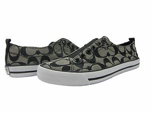Coach-Womens-Summer-Black-Signature-C-Low-Slip-on-Casual-Fashion-Sneakers-Shoes