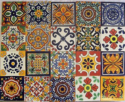 "50 Mexican Talavera TILES Ceramic Mix Patterns 6x6"" Stairs Backsplash"