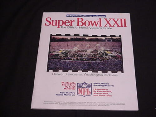1988 Super Bowl XXII Viewer's Guide - Football