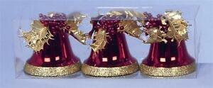 3-Red-amp-Gold-Glitter-Bells-Christmas-Tree-Decorations-Height-10cm-NEW-12861