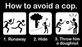 HOW-TO-AVOID-A-COP-Run-Hide-Throw-a-DONUT-Bumper-STICKER-Vinyl-DECAL-Art-by-ODM