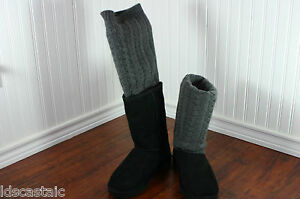 New-Womens-UGG-Tularosa-Route-Detachable-Black-Size-5-11-Cable-Knit-knee-Tall
