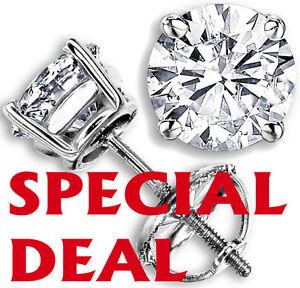 1-12-CT-F-G-VS-GENUINE-ROUND-DIAMOND-STUD-EARRINGS-14K-WHITE-GOLD-100-NATURAL