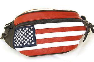 New-Leather-USA-Flag-Fanny-Pack-Stars-Stripes-Belt-Bag-Travel-Purse-Waist-Bag