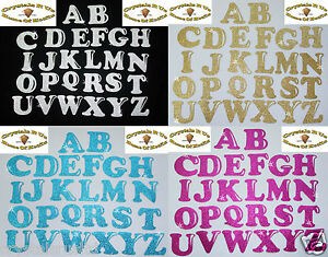 image is loading fabric glitter alphabet letters iron on hotfix diy