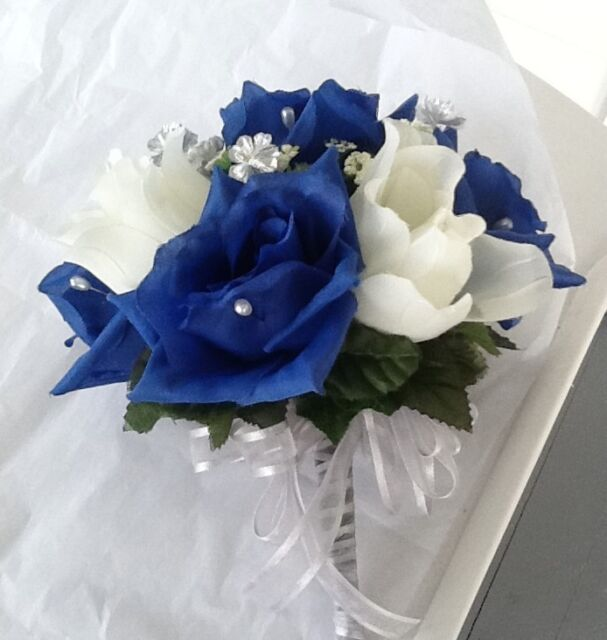 Bridal Throw Away Bouquet Royal Blue Ivory And Silver