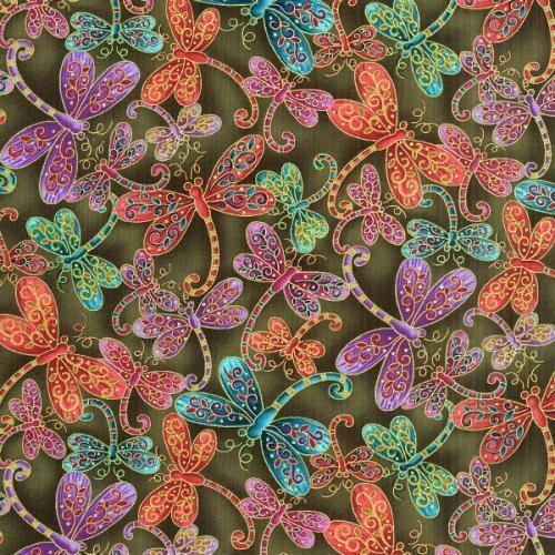 Fat Quarter Dragonfly Magic Olive Cotton Quilting Fabric  50cm x 55cm