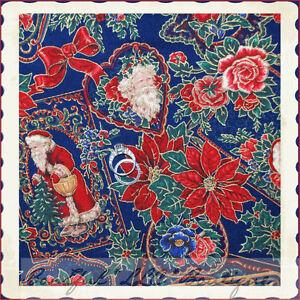 BonEful-Fabric-FQ-Cotton-Quilt-Xmas-Holiday-Santa-Red-Bow-Sleigh-Reindeer-Flower