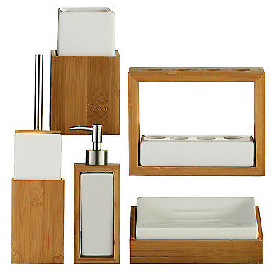 Bamboo Wood White Ceramic Soap Dish - Last Stock !!!!