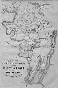 Image Is Loading Antietam Battle Field Civil War Map Washington Maryland