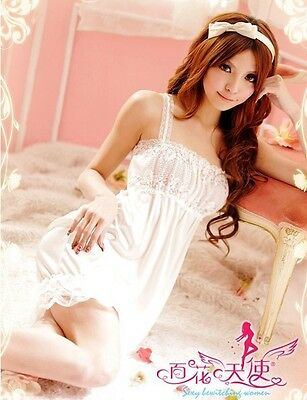 Sexy Lingerie White Bridal Chemise Babydoll With G-String #0357