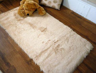 Beige Faux Fur Sheepskin Style Oblong Rug 70 x 140cm Washable