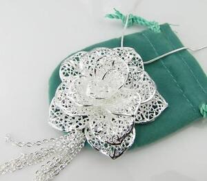 Women-039-s-Girls-Jewelry-silver-Big-Rose-Pendant-Necklace-Fashion-Jewelry-ZN574