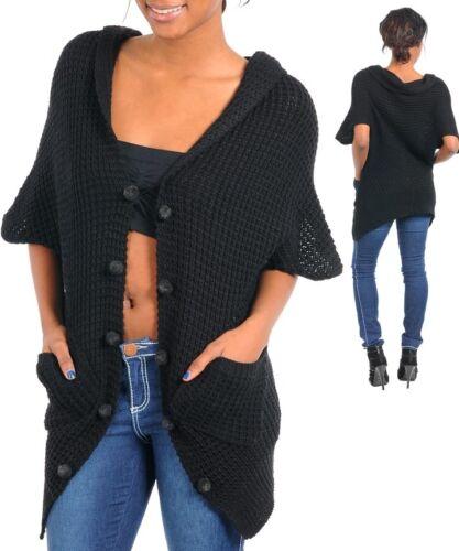 WOMENS sweater cardigan Vest knit waffle stitch Kimono dolman sleeve one size