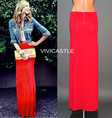 RED FOLD OVER WAIST BANDED URBAN MINIMALIST JERSEY KNIT LONG MAXI SKIRT S M L