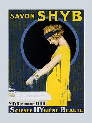 Fashion Lady Girl Washing Hands Soap Savon Shyb Vintage Poster Repro FREE S/H