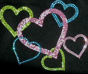 HEARTS Valentine Love iron on pink peridot aqua rhinestone TRANSFER 4 t shirt