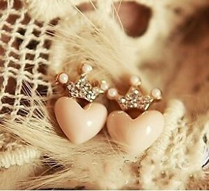 Fashion-Cute-Lovely-Sweet-Rhinestone-Crown-Love-Heart-Stud-Earring-NEW-Free-Ship