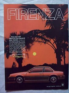 1986-Magazine-Advertisement-Page-For-GM-Oldsmobile-Firenza-Car-Vintage-Ad
