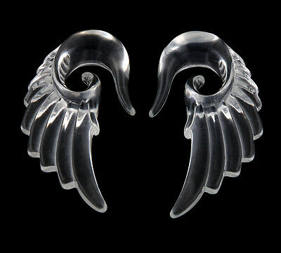 Pair Acrylic Clear translucent look Angel Wing Design Ear Taper Plugs Gauges
