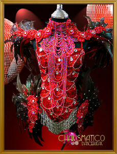 Charismatico-Raven-Feathered-Red-Sequin-Crystal-Embellish-Samba-Carnival-Costume