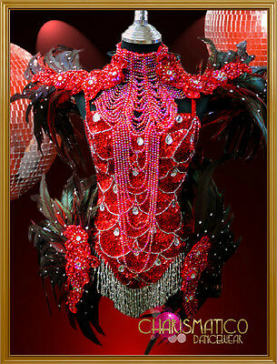Charismatico Raven Feathered Red Sequin Crystal Embellish Samba Carnival Costume