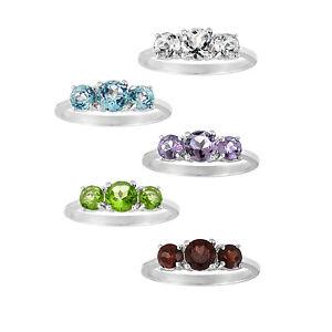 925-Silver-3-Stone-Past-Present-Future-Gemstone-Ring-5-Colors