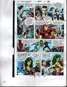 1990-Avengers-Marvel-color-guide-art-page-Captain-America-She-Hulk-Thor-Iron-Man