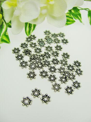 30 Daisy Spacer 8,5 mm, Metallperlen,  Zwischenperlen in silber, Perlen basteln