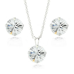 925-Silver-Solitaire-Necklace-amp-Earrings-Set-Made-with-Swarovski-Elements
