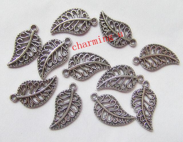 8pz charms ciondoli foglia colore tibetano 18x10mm