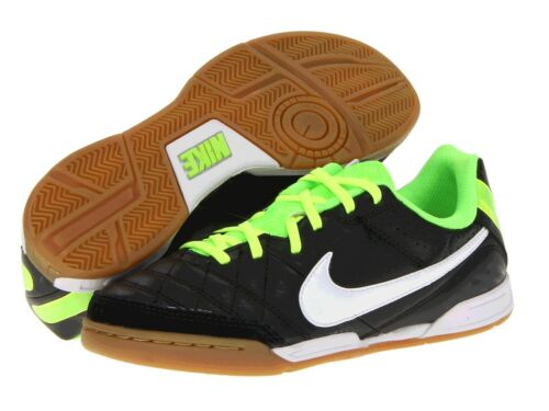 Boys Nike Indoor Soccer Sneakers Black/Electric Green/White  Boys Size 5 1/2