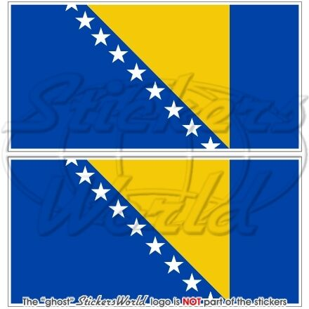 "BOSNIA & HERZEGOVINA Flag 75mm (3"") Bumper Stickers x2"