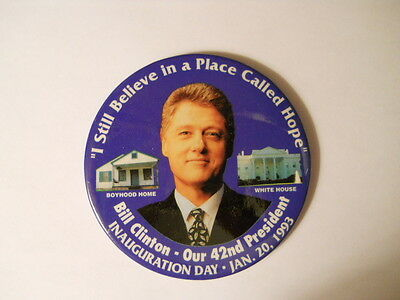 BILL CLINTON INAUGURATION DAY 1993 Pin Pinback Button Boyhoodhome to White House