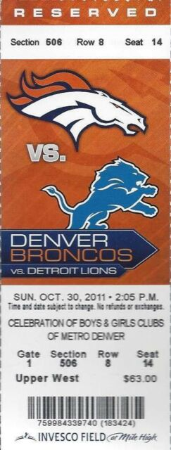 2011 NFL DETROIT LIONS @ DENVER BRONCOS FULL UNUSED FOOTBALL TICKET - TEBOW