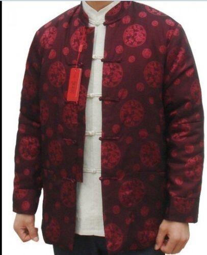 blue balck  Chinese Men/'s silk//satin winter cotton Jacket//Coat Size s-3xl