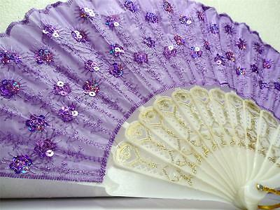Lavender Quinceanera Wedding Party Fabric Sequin Bead Lace Hand Embroidered Fan