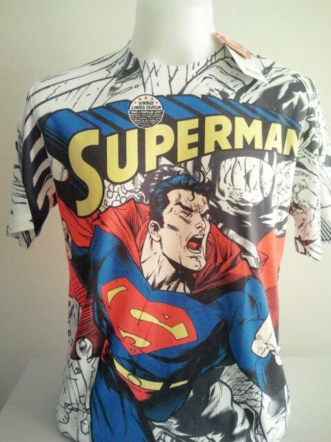 NEW WHITE VINTAGE MAN OF STEEL SUPERMAN T-SHIRT SIZE L DC COMICS NO.122