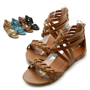NEW-Womens-Shoes-Gladiator-Flats-Cross-Braided-Sandals-Multi-Colored