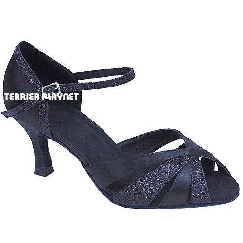 TPS Black Satin & Glitter Latin Ballroom Salsa Custom-made Dance Shoes D852